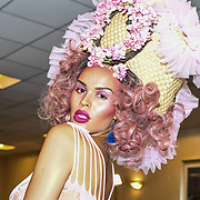 Talulah-eve is a model at Pierre Garroudi Spectacular Fashion Show at London Fashion Week SS19 latest collection showcasing ten new, exclusive, luxury bags created to run alongside the couture collection at Strand Palace Hotel on 16 September 2018, London, UK.