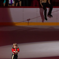 Alexander Plushenko (bottom) son of Olypmic and European champion figure skater Evgeny Plushenko (top) of Russia performs during the Kings on Ice skating show in Budapest, Hungary on April 29, 2018. ATTILA VOLGYI