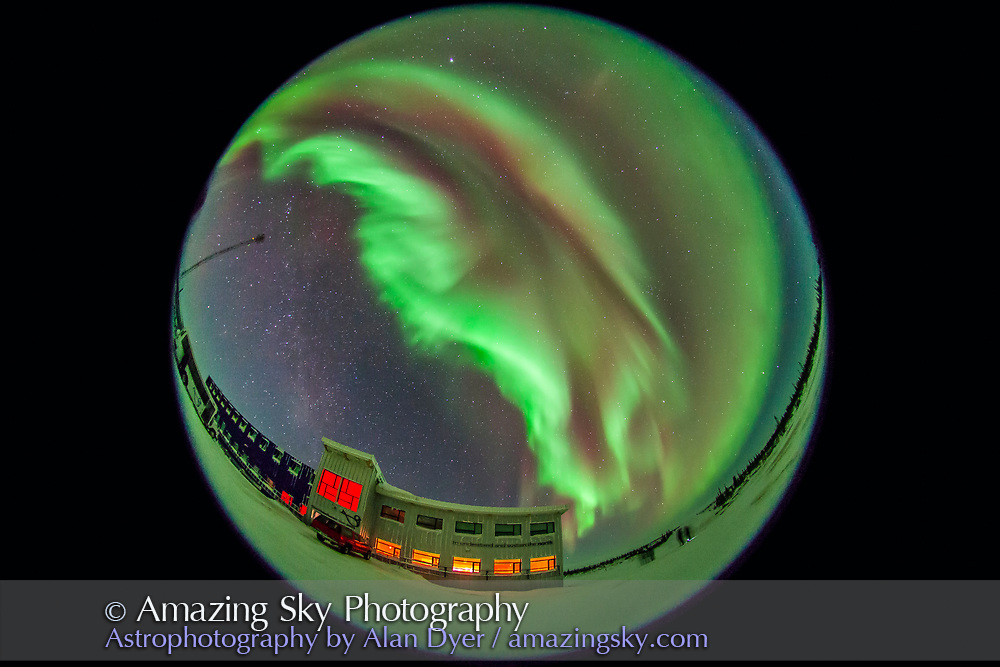 The aurora of February 3-4, 2014 seen from Churchill, Manitoba at the Churchill Northern Studies Centre, in a view looking north with the 8mm lens. This is a 20-second exposure at f/3.5 and ISO 3200 wth the Canon 5D MkII.