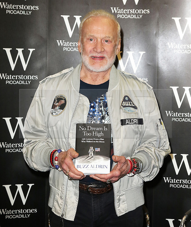 Buzz Aldrin, former astronaut signs copies of his book No Dream is Too High: Life Lessons From a Man Who Walked on the Moon