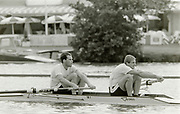Henley on Thames, England, 1990 Henley Royal Regatta, River Thames, Henley Reach,  [© Peter Spurrier/Intersport Images], The Silver Goblets Nickalls' Challenge Cup: bow Simon BERRISFORD, Steve REDGRAVE,