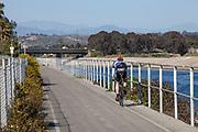 Bicycle path along Ballona Creek, Marina Del Rey, Los Angeles, California, USA