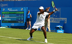 June 19, 2017 - London, United Kingdom - Donald Young (USA ) against Nick Kyrgios AUSduring Round One match on the first day of the ATP Aegon Championships at the Queen's Club in west London on June 19, 2017  (Credit Image: © Kieran Galvin/NurPhoto via ZUMA Press)