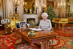 Queen Elizabeth II after she recorded her annual Christmas Day message, in the White Drawing Room of Buckingham Palace in central London.