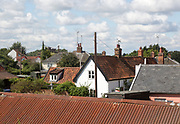 Rooftops of houses in nucleated village Shottisham, Suffolk, England, UK
