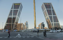 March 25, 2019 - Madrid, Madrid, Spain - A view of the gigantic buildings of Bankia´s bank at the avenue la castellana in Madrid..The General Shareholders Meeting of the Spanish bank, Bankia, approved the distribution of a dividend of 357 million euros on an account of the results of 2018, which represents an amount 5% higher than that of the fiscal year. This dividend of 357 million euros is fixed at 11,576 cents per share, an amount that is also 5% higher than the previous year. The payment of this ordinary remuneration to the shareholder will be made, as in the last four years, in cash and in a single payment and will be settled on April 11 of this year. This is the fifth dividend in the history of bankia bank, since 2015 this bank has paid its first shareholder compensation, this accumulated payment will reach 1,517 million euros. (Credit Image: © Alberto Sibaja/SOPA Images via ZUMA Wire)