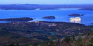 Bar Harbor at dusk as seen from Cadillac Mountain, Acadia National Park, Maine, USA