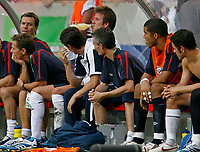 Photo: Glyn Thomas.<br />England v Ecuador. 2nd Round, FIFA World Cup 2006. 25/06/2006.<br /> England's David Beckham (C) has a drink on the bench after being substituted.