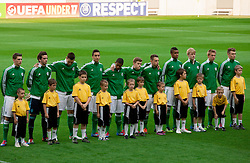 Players of Germany listening to the national anthem during the UEFA European Under-17 Championship Group A match between Georgia and Germany on May 4, 2012 in SRC Stozice, Ljubljana, Slovenia. Germany defeated Georgia 1-0. (Photo by Vid Ponikvar / Sportida.com)