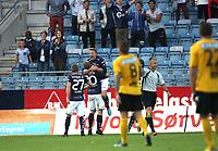 Tippeligaen 18 runde.<br /> Viking FK - Lillestrøm SK. 03.08.2013<br /> Viking Stadion, Stavanger, Norge.<br /> <br /> Foto. Simon Rogers, Digital Sport.<br /> <br /> Viking. Patrik Ingelsten, Trond Olsen, Indridi Sigurdsson.<br /> Lillestrøm.
