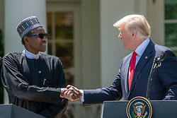 United States President Donald J. Trump and President Muhammadu Buhari of Nigeria shake hands as they conduct a joint press conference with in the Rose Garden of the White House in Washington, DC on Monday, April 30, 2018. Photo by Ron Sachs/CNP/ABACAPRESS.COM