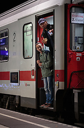 13.09.2015, Hauptbahnhof Salzburg, AUT, Fluechtlinge am Hauptbahnhof Salzburg auf ihrer Reise nach Deutschland, im Bild zwei Männer blicken aus den Zug // Two Migrants look out of the train. According to reports thousands of refugees fleeing violence and persecution in their own countries continue to make their way toward the EU, just days before Euopean leaders are set to meet in Brussels to discuss a solution to the arrival of so many people, Main Train Station, Salzburg, Austria on 2015/09/13. EXPA Pictures © 2015, PhotoCredit: EXPA/ JFK