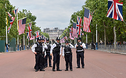 © Licensed to London News Pictures. 03/06/2019. London, UK.  Metropolitan police line the the Mall as a small number of Trump supporters turn out to watch as the President of the United States travel by cavalcade from Buckingham Palace to Westminster Abbey on the the first day of the President's state visit to the UK.  Photo credit: Guilhem Baker/LNP