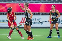 ANTWERP - BELFIUS EUROHOCKEY Championship  .  Germany v Belarus (women)  Nike Lorenz (Ger) scored . left Natallia Shtsin (BLR) WSP/ KOEN SUYK