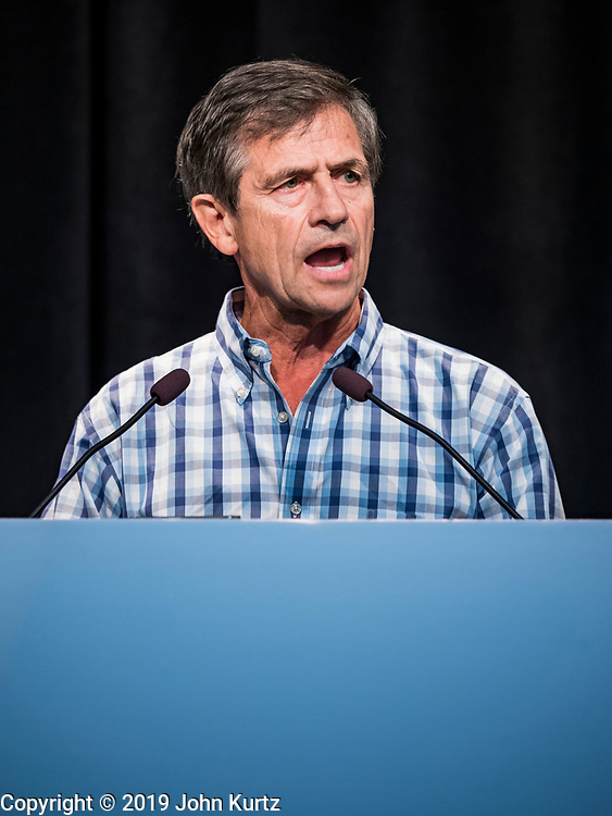 21 AUGUST 2019 - ALTOONA, IOWA: Admiral JOE SESTAK (Retired), a Democratic nominee for the US Presidency, talks to union members at the Iowa Federation of Labor convention. Many of the Democratic presidential candidates are addressing the Iowa Federation of Labor convention at the Prairie Meadow Casino in Altoona. They are hoping to secure labor support before the Iowa Caucuses on Feb. 3, 2020.      PHOTO BY JACK KURTZ