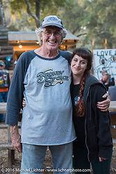 Pops Richard Mitchell with his daughter Claire Mitchell at the Broken Spoke Saloon during the Daytona Bike Week 75th Anniversary event. FL, USA. Tuesday March 8, 2016.  Photography ©2016 Michael Lichter.