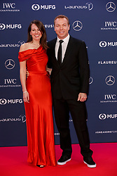 Laureus Academy Member Sir Chris Hoy and Sarra Hoy arriving to the Laureus Sports Awards 2019 ceremony at the Sporting Monte-Carlo in Monaco on February 18, 2019. Photo by Marco Piovanotto/ABACAPRESS.COM