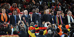 11-07-2010 VOETBAL: FIFA WK FINALE NEDERLAND - SPANJE: JOHANNESBURG<br /> Joseph Blatter, Prins Willem Alexander, Jacques Rogge und Jacob Zuma <br /> EXPA Pictures © 2010 EXPA/ InsideFoto/ Perottino - ©2010-WWW.FOTOHOOGENDOORN.NL<br /> *** ATTENTION *** FOR NETHERLANDS USE ONLY!
