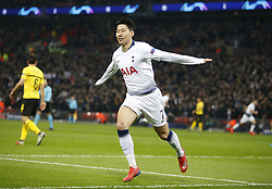 BRITAIN-LONDON-FOOTBALL-UEFA CHAMPIONS LEAGUE-TOTTENHAM VS DORTMUND.(190213) -- LONDON, Feb.13, 2019  Tottenham Hotspur's Heung-Min Son celebrates after scoring the first goal during the UEFA Champions League Round of 16 1st Leg match between Tottenham Hotspur and Borussia Dortmund at Wembley Stadium in London, Britain on Feb. 13, 2019. Tottenham Hotspur won 3-0.  FOR EDITORIAL USE ONLY. NOT FOR SALE FOR MARKETING OR ADVERTISING CAMPAIGNS. NO USE WITH UNAUTHORIZED AUDIO, VIDEO, DATA, FIXTURE LISTS, CLUB/LEAGUE LOGOS OR ''LIVE'' SERVICES. ONLINE IN-MATCH USE LIMITED TO 45 IMAGES, NO VIDEO EMULATION. NO USE IN BETTING, GAMES OR SINGLE CLUB/LEAGUE/PLAYER PUBLICATIONS. (Credit Image: © Xinhua via ZUMA Wire)