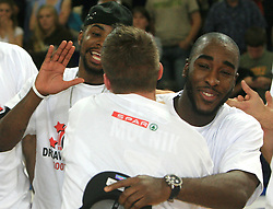 Celebration of Union Olimpija (Ronell Taylor R) after fourth (last) final match of UPC Telemach league and Slovenian  National Championship  between KK Helios Domzale, Domzale and Union Olimpija, Ljubljana, Slovenia, on June 7, 2008, in Komunalni center hall in Domzale. Match was won by Union Olimpija 84:60 and Olimpija became National Champion 2007/2008 fourteen times in history of Slovenia. (Photo by Vid Ponikvar / Sportal Images)
