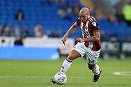 Samir Carruthers of Sheffield United in action. EFL Skybet championship match, Cardiff city v Sheffield Utd at the Cardiff City Stadium in Cardiff, South Wales on Tuesday 15th August 2017.<br /> pic by Andrew Orchard, Andrew Orchard sports photography.