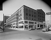 Simon 057. Bates Garage building, looking south on SW 9th from Taylor. April 24, 1950.