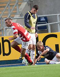 Hamilton's Darian Mackinnon tackles Falkirk's Stephen Kingsley.<br /> half time : Falkirk 0 v  0 Hamilton, Scottish Championship 31/8/2013.<br /> ©Michael Schofield.