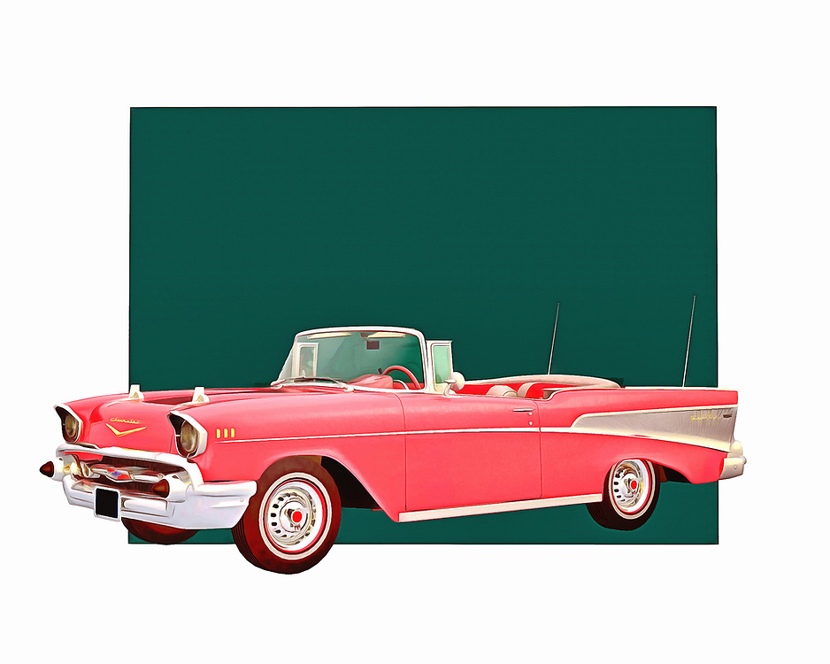 The longer you stare at this digital painting by Jan Keteleer, the easier it will be to transport to a different time and place. The Chevy Belair is one of the most beloved vintage cars of all time. Did you own one yourself? Does this fine art piece take you back to those days? .<br />