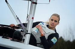 01-02-2013 ZEILEN: PORTRET MARIT BOUWMEESTER: ALMERE<br /> Marit Bouwmeester met haat Olympische laser boot, AA drink, Delta Lloyd<br /> ©2013-FotoHoogendoorn.nl
