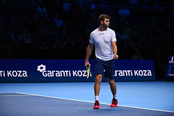 November 14, 2017 - London, England, United Kingdom - Ryan Harrison of The United States and Michael Venus of New Zealand (out of frame) in action during the doubles match against Nicolas Mahut of France and Pierre-Hugues Herbert of France on day three of the Nitto ATP World Tour Finals at O2 Arena on November 14, 2017 in London, England. (Photo by Alberto Pezzali/NurPhoto) (Credit Image: © Alberto Pezzali/NurPhoto via ZUMA Press)