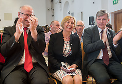 Pictured: New deputy leader Lesley Laird takes her seat to applause.<br /> <br /> Scottish Labour leader Richard Leonard announced his new deputy leader, Fife MP Lesley Laird, at a speech in Glasgow.<br /> <br /> © Dave Johnston/ EEm