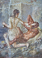 Satyr being rejected by Hermaphrodite, a Roman erotic fresco painting from Pompeii, 50-79 AD , inv no 110878 , Secret Museum or Secret Cabinet, Naples National Archaeological Museum .<br /> <br /> If you prefer to buy from our ALAMY PHOTO LIBRARY  Collection visit : https://www.alamy.com/portfolio/paul-williams-funkystock - Scroll down and type - Roman Art Erotic  - into LOWER search box. {TIP - Refine search by adding a background colour as well}.<br /> <br /> Visit our ROMAN ART & HISTORIC SITES PHOTO COLLECTIONS for more photos to download or buy as wall art prints https://funkystock.photoshelter.com/gallery-collection/The-Romans-Art-Artefacts-Antiquities-Historic-Sites-Pictures-Images/C0000r2uLJJo9_s0