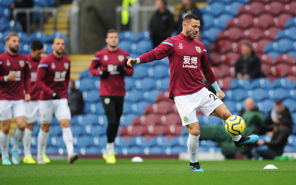 Burnley's Phillip Bardsley during the pre-match warm-up <br /> <br /> Photographer Kevin Barnes/CameraSport<br /> <br /> The Premier League - Burnley v Chelsea - Saturday 26th October 2019 - Turf Moor - Burnley<br /> <br /> World Copyright © 2019 CameraSport. All rights reserved. 43 Linden Ave. Countesthorpe. Leicester. England. LE8 5PG - Tel: +44 (0) 116 277 4147 - admin@camerasport.com - www.camerasport.com