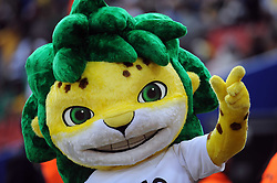 090614) -- JOHANNESBURG, June 14, 2009  -- Zakumi, the Mascot of the 2010 FIFA World Cup, gestures before the opening football match of the FIFA Confederations Cup between South Africa and Iraq in Johannesburg, South Africa, June 14, 2009. (Yang Lei)(txy/why) (Credit Image: © Xinhua/ZUMA Press)