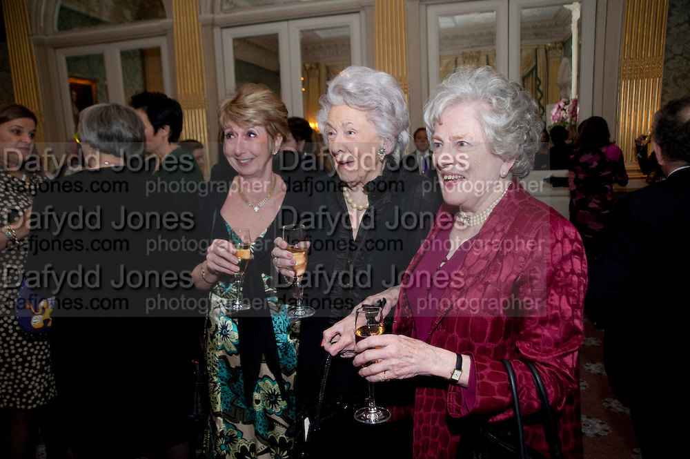 SUSAN GITTINGS; MRS. GEORGE BUDD; DR. CHRISTIAN CARRITT, The Dowager Duchess od Devonshire and Catherine Ostler editor of the Tatler host a party to celebrate Penguin's reissue of Nancy Mitford's ' Wigs on the Green.'  The French Salon. Claridge's. London. 10 March 2010.
