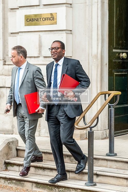 Kwasi Kwarteng, Minister for the Department for Business, Energy and Industrial Strategy leaves the Cabinet Office after meetings.<br /> <br /> Richard Hancox | EEm 12082019