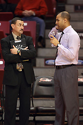 29 December 2014:  Mike Kindhart, Jestion Anderson during an NCAA non-conference interdivisional exhibition game between the Quincy University Hawks and the Illinois State University Redbirds at Redbird Arena in Normal Illinois.