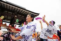 Seasoned dancers lead the way during Sunday's 63rd annual Obon Festival at the Buddhist Temple of Salinas.