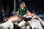 Faf de Klerk of South Africa looks at the scrum during the Rugby World Cup  final match between England and South Africa at the International Stadium ,  Saturday, Nov. 2, 2019, in Yokohama, Japan. South Africa defeated England 32-12. (Florencia Tan Jun/ESPA-Image of Sport)