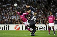 FOOTBALL - UEFA CHAMPIONS LEAGUE 2011/2012 - GROUP STAGE - GROUP D - OLYMPIQUE LYONNAIS v DINAMO ZAGREB - 27/09/2011 - PHOTO JEAN MARIE HERVIO / DPPI - JERKO LEKO (ZAG) / BAFETIMBI GOMIS (OL)