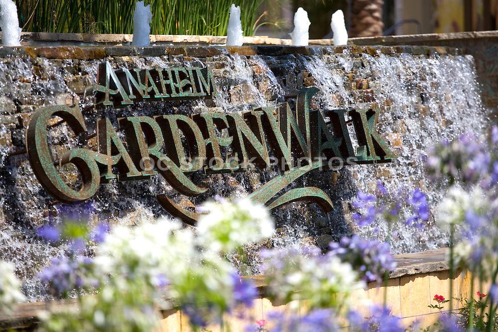 Anaheim Garden Walk Stacked Stone Water Fountain Monument