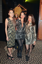 Left to right, MADDIE MILLS, YASMIN MILLS and LAUREN KEMP at the Warner Music Brit Party held at the Freemason's Hall, 60 Great Queen Street, London on 25th February 2015.