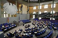 30 JUN 2005, BERLIN/GERMANY:<br /> Uebersicht des schlecht besetzten Plenarsaals, waehrend einer Abstimmung, Deutscher Bundestag<br /> IMAGE: 20050630-01-008<br /> KEYWORDS: Plenum, leer, Reichstag, Bundesadler, Übersicht