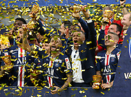 Neymar Jr, Kylian Mbappe, Marco Verratti of PSG and teammates celebrate the victory during the trophy ceremony following the French League Cup (Coupe de la Ligue) final match between Paris Saint-Germain (PSG) and Olympique Lyonnais (OL, Lyon) on July 31, 2020 at the Stade de France, in Saint-Denis, near Paris, France - Photo Juan Soliz / ProSportsImages / DPPI