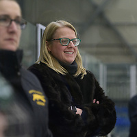 Regina Cougars women's Hockey Head Coach Sarah Hodges in action during the Women's Hockey home game on February 9 at Co-operators arena. Credit: Arthur Ward/Arthur Images