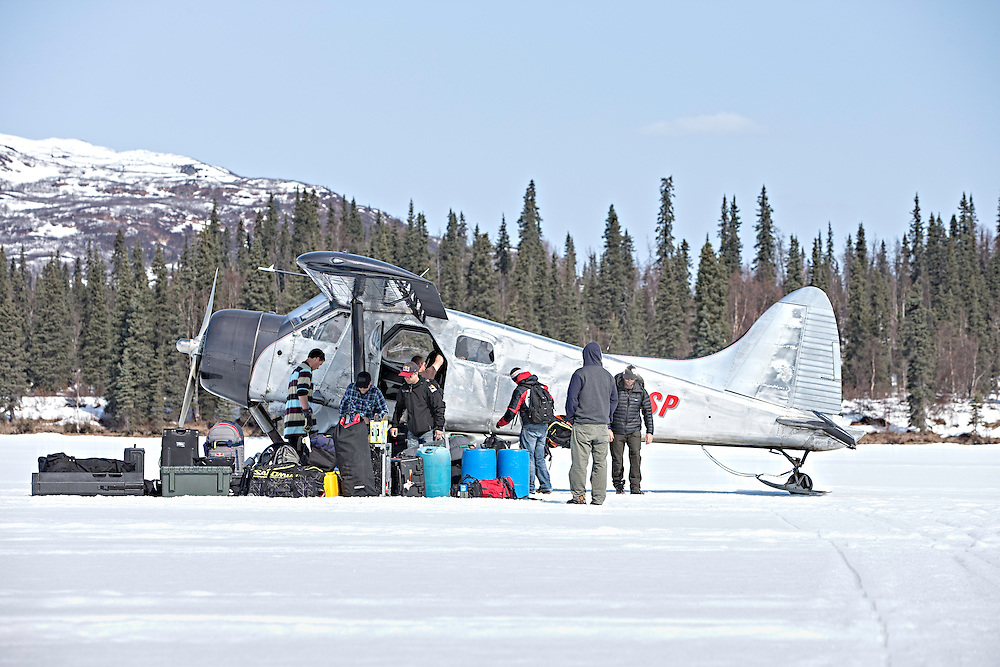 The Unrideables crew packs an airplane to leave the Tordrillo Mountains near Anchorage, Alaska on April 30th, 2014.