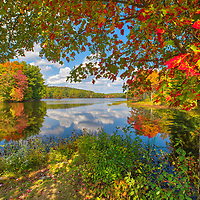 New England fall foliage peak colors at Brigham Pond in Hubbardston, Central Massachusetts. <br /> <br /> Massachusetts Brigham Pond peak fall foliage photos are available as museum quality photo, canvas, acrylic, wood or metal prints. Wall art prints may be framed and matted to the individual liking and interior design decoration needs:<br /> <br /> https://juergen-roth.pixels.com/featured/new-england-fall-foliage-at-brigham-pond-in-hubbardston-massachusetts-juergen-roth.html<br /> <br /> Good light and happy photo making!<br /> <br /> My best,<br /> <br /> Juergen