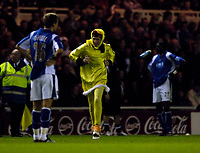 Photo: Jed Wee.<br /> Middlesbrough v Portsmouth. The Barclays Premiership. 28/08/2006.<br /> <br /> Play is interrupted in the second half as a spectator in a chicken costume runs onto the pitch.