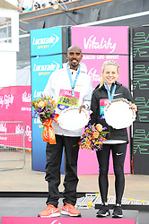 March 10, 2019 - London, United Kingdom - Mo Farrah and Charlotte Purdue are seen posing with their awards after running The Vitality Big Half, which has returned for a festival of running and culture to the heart of London in a celebration of the rich and wonderful diversity of the capital city and Finishing it at Cutty Sark. (Credit Image: © Terry Scott/SOPA Images via ZUMA Wire)