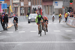 Sheyla Gutierrez (Cylance) lets out her sprint in the uphill finish at the 112.8 km Le Samyn des Dames on March 1st 2017, from Quaregnon to Dour, Belgium. (Photo by Sean Robinson/Velofocus)